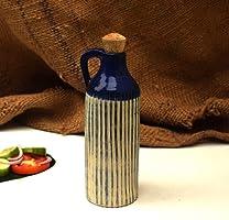 Claybotik Handmade- Blue Hand Carved Ceramic Oil Bottle