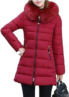 maweisong 女性ロングコートフォークス毛皮フードミッドレングスパーカーダウンジャケット