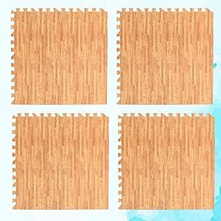 "Garneck 11.8"" EVA Foam Yoga Mat Square Fitness Gym Exercise Mat Interlocking Wood Grain EVA Ground Mat Floor Pad Crawling ..."