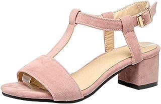 KemeKiss Women Fashion Mid Square Heels Sandals Extra Sizes