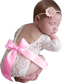 Tabpole Neugeborene Baby Spitze Strampler Fotografie Requisiten Fotoshooting Spitze Body Und Blumen Stirnband Outfits