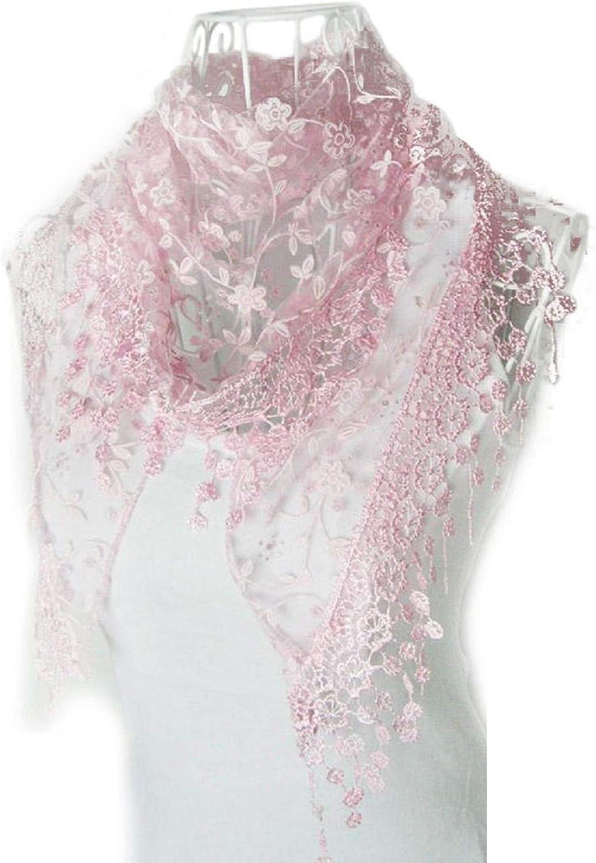 Blackobe Fashion Lace Tassel Sheer Floral Print Triangle Mantilla Scarf Shawl