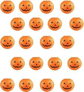 20 PCS Halloween Pumpkin Paper Lantern for Halloween Party Halloween Gift Weddings Parties Garden Bedroom Decoration, 8 Inches (Orange)