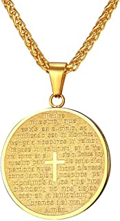 U7 Coin Medal Necklace Men Women Stainless Steel 18K Gold Plated Personalized Mantra Engrave Inspirational Jewelry/Tree of Life Pendant/Cross Lords Prayer Necklace,Customizable and Send Gift Box