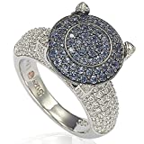 Suzy Levian Sterling Silver Pave Blue Cubic Zirconia Ring (8.5)