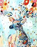 Fuumuui Lienzo de Bricolaje Regalo de Pintura al óleo para Adultos niños Pintura por número Kits Decoraciones para el hogar -Ciervo de la Flor 16 * 20 Pulgadas