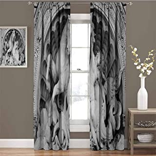 Sculptures Premium Blackout Curtains A Struggling Nymph with Octopus Seashell Horse in a Lunette Sculpture Art in Bologna Kindergarten Noise Reduction Curtains W42 x L84 Inch Grey