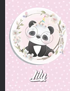 Lily Personalized Kawaii pandicorn Sketchbook For Girls With their Name,Kindergarten to Early Childhood School sketchbook:...