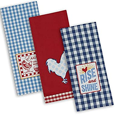 DII Cotton Embroidered Dish Towels, 18x28 Set of 3, Oversized Decorative Kitchen Towels for Cooking and Baking-Rise N Shine
