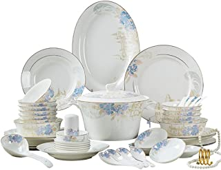 TQBHD Nordic Cuisine Élégante Table à Dinçons Floral Table à Dinning Set Ceramic Dinkware Set Plates Set