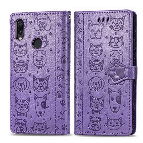 Abuenora Funda para Xiaomi Redmi Note 7, Carcasa Libro con Tapa Flip Case Antigolpes Cartera Polipiel Cuero Suave Guay Cubierta Color Purpura