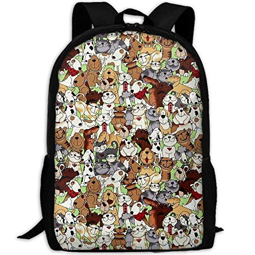 TRFashion Canvas Love is A Four Legged Word Dogs Cats Laptop Backpack Cute School College Shoulder Bag for Women Men Black Casual Leisure Backpack Swagger Bags Rucksack