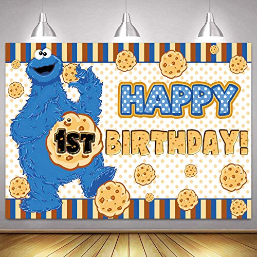 Cookie Monster Backdrop Theme Backdrop Cookie Monster Backdrop Boy First Birthday for Cake Smash Cookie Backdrop Cookie Backdrops for Photography Cookie Background Cookie Monster Party Supplies