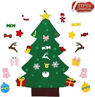 RUIZD Felt Christmas Tree DIY Felt Christmas Tree with 31 Pcs Detachable Ornaments Xmas Gift New Year Door Wall Hanging Decorations for Toddlers Kids (31 pcs)