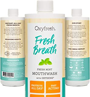 Oxyfresh Fresh Breath Fresh Mint Mouthwash - Dentist Recommended - for Long-Lasting Fresh Breath and Healthy Gums – Alcohol-Free – 1 Bottle 16 Oz.