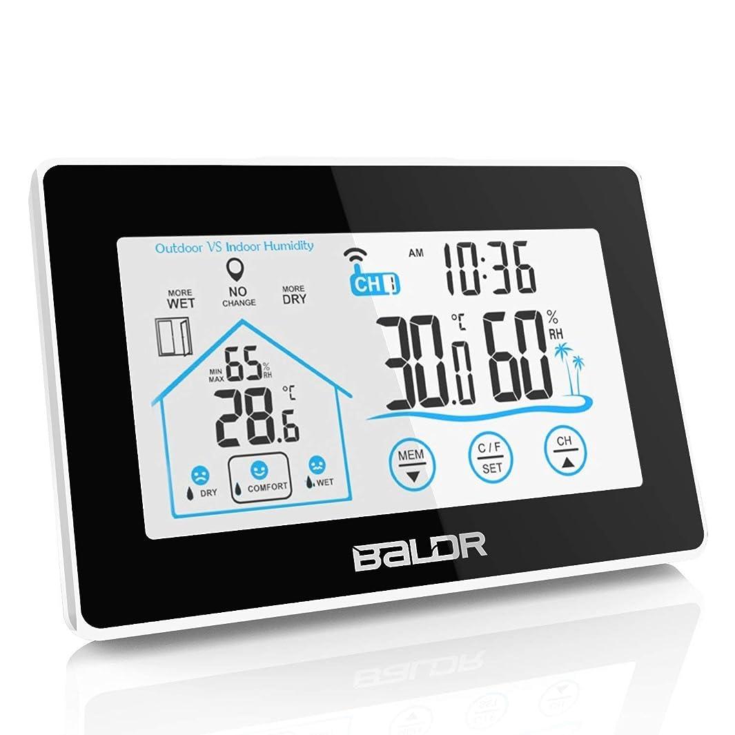 鏡閲覧するカストディアンAedo 天気予報計デジタル湿度計 温度計室内 LCD大画面温湿度計 最高最低温湿度表示 タッチスクリーンとバックライト機能あり 置き掛け両用タイプ