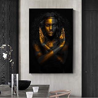 tzxdbh Maquillaje Dorado Home Wall Art Impresiones de Lienzo Sexy Black Girls Pop Art Canvas Paintings Imágenes de Pared africanas para la decoración de la Sala de Estar