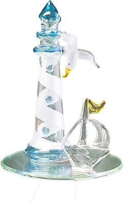 "DeJon Crystal Glass Figurine Light House on Mirror Base 4.5"" Tall ETA-59"