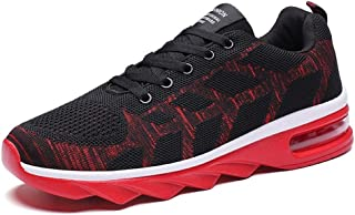 Men's Shoes 2019 Summer Breathable Flying Woven Running Shoes Men's Trend Wild Couple Air Cushion Shoes Men's Sports Shoes (Color : Black red, Size : 42)