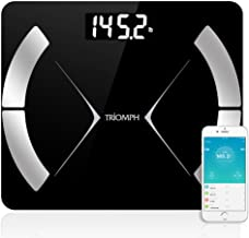 Triomph Bluetooth Smart Body Fat Scale with iOS/Android App - Digital Body Composition Analyzer Measures Body Weight, Body Fat, Water, Muscle Mass, BMR, Bone Mass and Visceral Fat, 400 lbs, Black