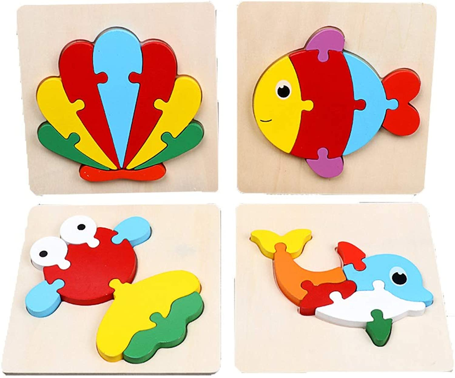 Hong Jie Yuan Toys  Early Learning Toys Wooden 3D Puzzle Toys Puzzle Development Puzzles Educational Toys  0123 Years Old Toys  Set Of 4  Hydrogen Ball Fish goldfish Dolphin