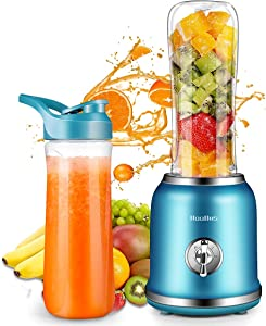 Personal Blender, Smoothie Blender with 2 Speeds & Pulse Function, 250W Portable Mini Blender for Juice Smoothies and Shakes with a BPA-Free Portable 20oz Travel Bottle (Renewed)