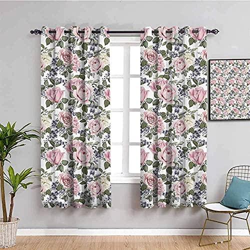 LucaSng Blickdicht Vorhang Wärmeisolierender - Pink Blumen Pflanzen Kunst - 234x230 cm Junge mit Mädchen Schlafzimmer Wohnzimmer Kinderzimmer - 3D Digitaldruck mit Ösen Thermo Vorhang