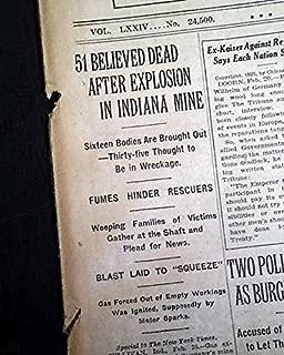 SULLIVAN INDIANA Hamilton Township Coal Mine EXPLOSION Disaster 1925 Newspaper THE NEW YORK TIMES, February 21, 1925