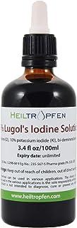ルゴール液 100mL, 5%ヨウ素および10%ヨウ化カリウムで製造された。Lugol's Iodine Solution.