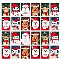 NUOBESTY 24Pcsメリークリスマスグリーティングカード漫画サンタeik雪だるまdiyギフトカードウィッシュカード招待状カード祝福子供家族友達同僚