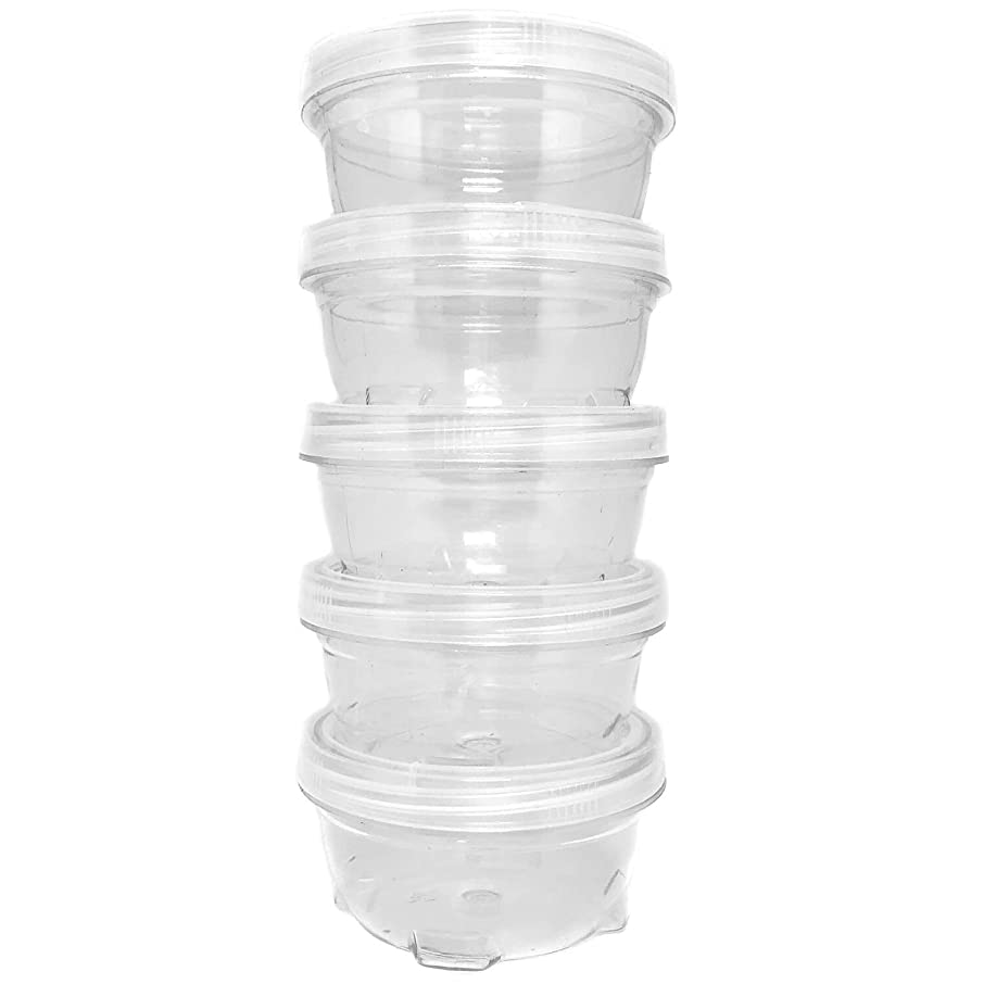 Storage Containers Clear Stackable Interlocking Detachable with Lid 5 for Beads Food Jewelry Coins Medicine Screws Nuts - 3 1/2