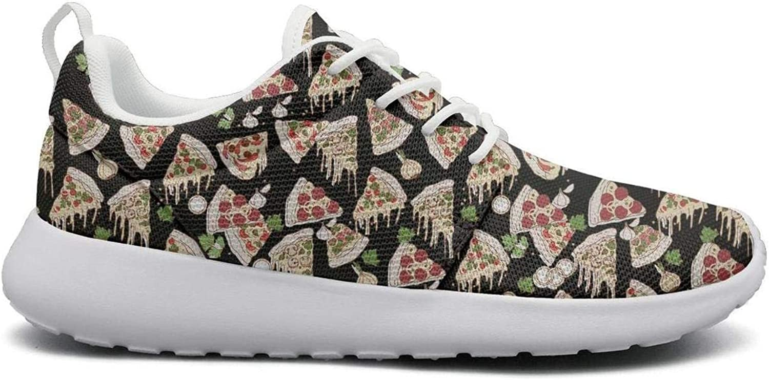 FEWW11 Women Cool Lightweight shoes Sneakers Black Triangle Pizza Party Breathable Running Lace-Up