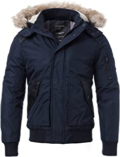 Men's Hooded Thick Cotton Puffer Jacket Winter Quilted Snorkel Parka with Detachable Faux Fur Collar Anorak Coat