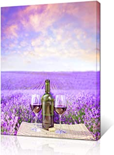 Innopics Purple Lavender Field Canvas Wall Art Romantic Flower Meadow Poster Print Horizon Landscape Picture Painting Wine Glass Bottle Home Decor Framed for Home Office Living Room Bedroom Decoration