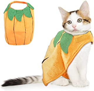 Vikedi Cat Halloween Costumes, Cat Pumpkin Costume, Adjustable Pet Cat Costume Halloween Clothing, Funny Pet Pumpkin Costume for Cats & Small Dogs Puppy,Pets Party Cosplay Dress Dress Up Accessories