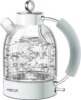 ASCOT Bouilloire électrique en verre 2200 W, 1,6 L, design rétro, sans BPA, bouilloire silencieuse, protection contre le f...