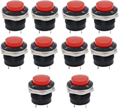 Twidec/10Pcs SPST AC250V/3A AC125V/6A Mini OFF(ON) NO Momentary Push Button Switch Red R13-507R