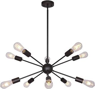 BONLICHT Modern Sputnik Chandelier Lighting 10 Lights Oil-Rubbed Bronze Chandelier Industrial Vintage Pendant Light Mid Century Ceiling Light Fixture UL Listed