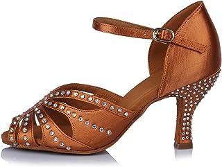 HROYL Zapatos de Baile para Mujeres y Niñas Latino de Diamantes de imitación Señoras Salsa Latina Tango Zapatos de Boda de...