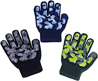 Boys Girls Magic Stretch Gripper Gloves 3 Pair Pack...