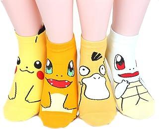 Kiss Socks, Pokemon Women's Ankle Socks 4 pairs 4 color) = 1 pack Made in Korea