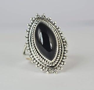 Anello in onice nero, argento sterling 925, anello fatto a mano, anello nero, gioielli in onice nero, dimensioni da 6 a 31 IT