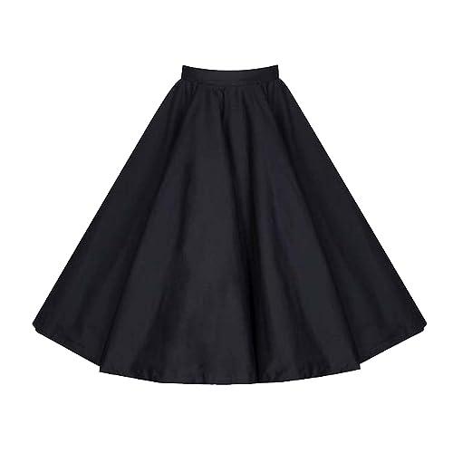 e0c5eaf4e Killreal Women's Vintage Knee Length Flare Floral A Line Pleated Skirt Black /White