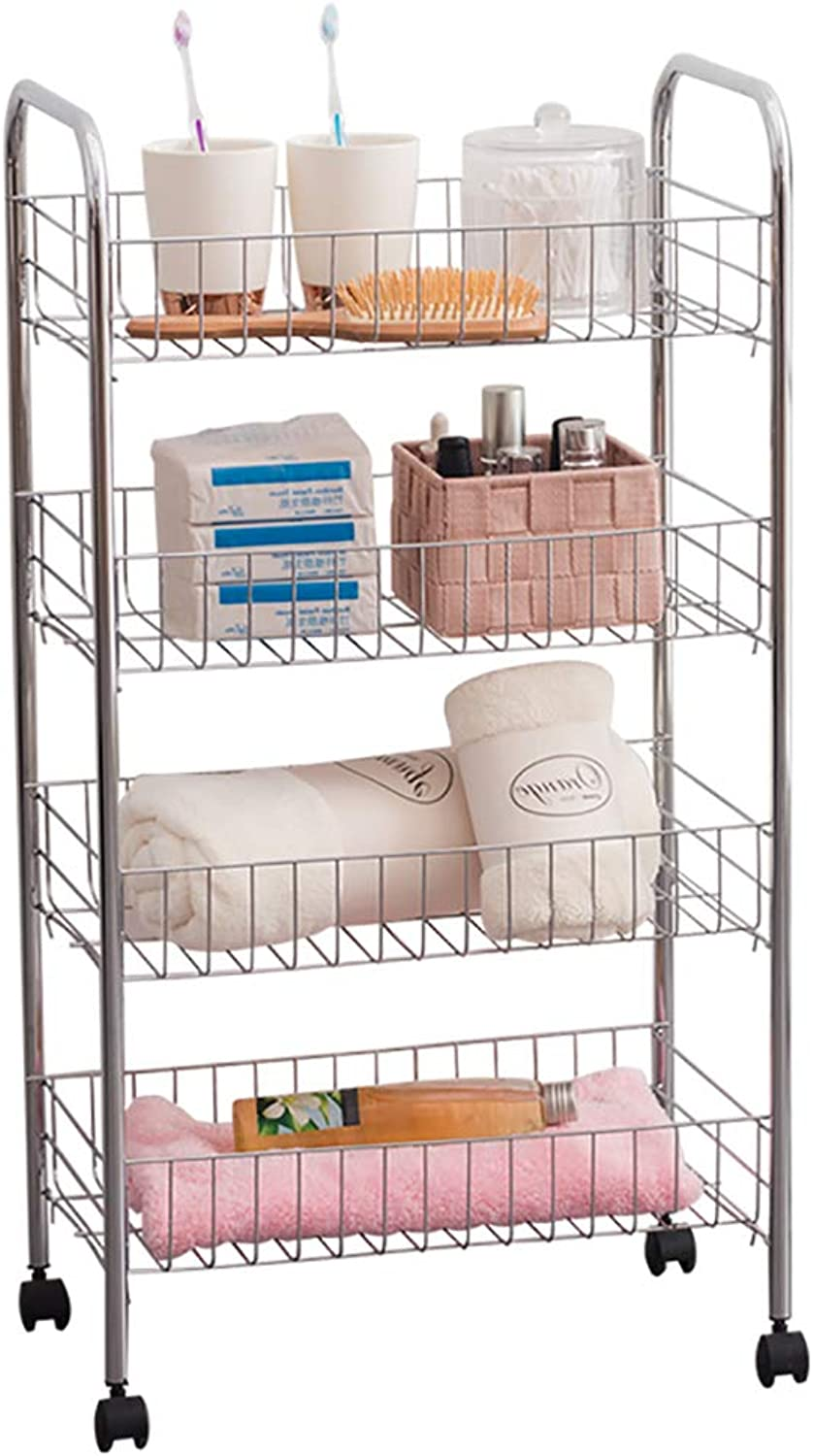 4-Tier Electroplated Dense Wire Movable Shelf Bedroom Wheeled Storage Shelf Kitchen Dining Car Vegetable and Fruit Storage Rack L16.06W10.11H29.92 Inches