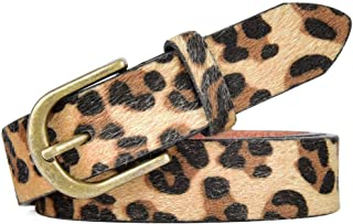 Talleffort Leopard Print PU leather Belt Women's Waist Belt Artificial Horse hair Belts for Women
