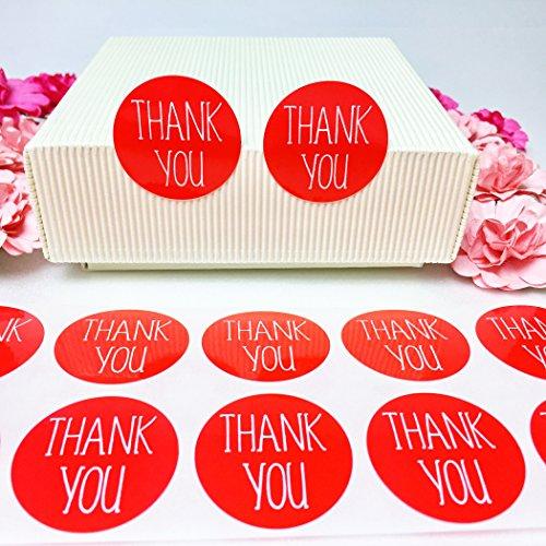 creve Thank you ありがとう 600枚 3cm 円型 ラッピング ラベル ステッカー ギフトシール おしゃれ シンプルフォント 業務用 (赤 レッド 光沢 防水)