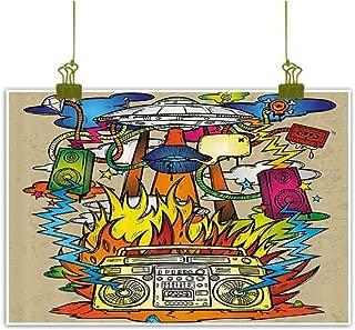 SEMZUXCVO Frameless Decorative Painting Modern Art Home Decor Hippie Funk Trippy Objects with UFO Music Box Lips Tapes Speakers Image Modern Minimalist Atmosphere W35 x L31 Multi