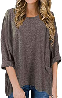 S-Fly Womens Long Sleeve Tops O-Neck Casual Blouse T Shirts with Pockets