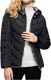 iHHAPY Ladies Short Quilted Jacket Warm Puffer Jacket Winter Jacket Long Sleeve Casual Parka Hooded Thick Coat Zipper