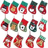 B612Planet 26pcs medias de Navidad, decoraciones de Navidad Santa Claus pequeños calcetines colgantes árbol de Navidad calcetines bolsa de regalo de Navidad bolsa de caramelo